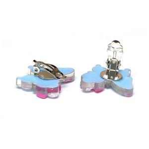 Children Clipon Earrings and Children Jewellery – Blue butterfly with flowers and bow...