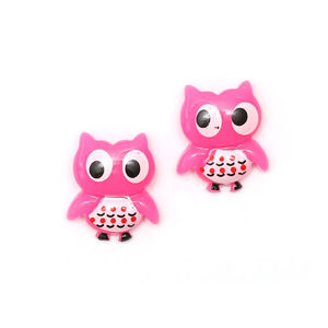 Children Clipon Earrings and Children Jewellery – Pink owl clip-on earrings