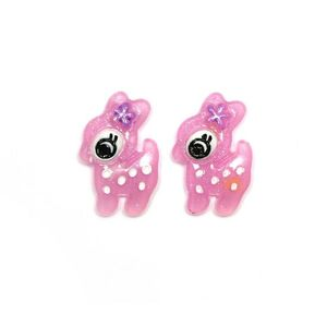 Children Clipon Earrings and Children Jewellery – Lilac reindeer clip-on earrings