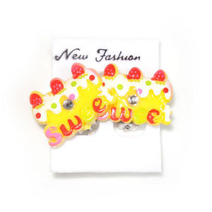 "Children Clipon Earrings and Children Jewellery – Yellow ""Sweet"" Cakes"
