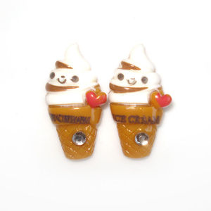 Children Clipon Earrings and Children Jewellery – Brown Ice Cream Cones