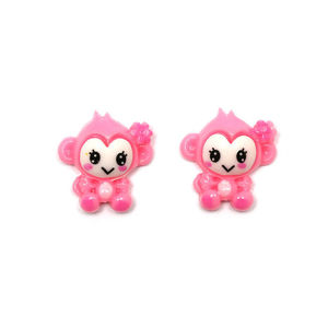Pink monkey clip-on earrings