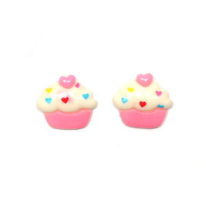 Children Clipon Earrings and Children Jewellery – White and pink Cupcakes