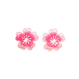 Pink spotty flower clip-on earrings