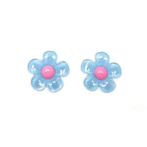 Children Clipon Earrings and Children Jewellery – Blue flowers with pink pollen
