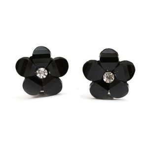 Children Clipon Earrings and Children Jewellery – Black flower with rhinestone clip-on...