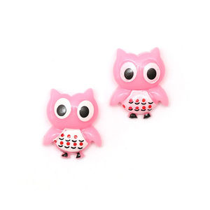Children Clipon Earrings and Children Jewellery – Baby pink owl clip-on earrings