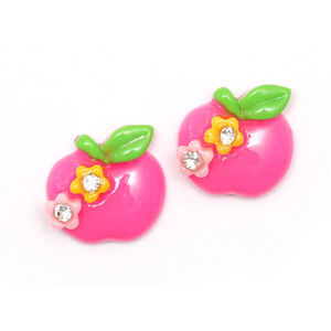 Pink apple with flowers and rhinestones clip-on earrings