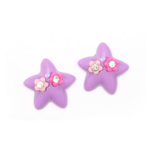 Children Clipon Earrings and Children Jewellery – Purple star with flowers and rhinestones...