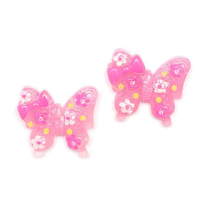 Children Clipon Earrings and Children Jewellery – Pink butterfly with flowers and bow...