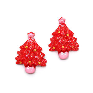 Red Christmas tree clip-on earrings