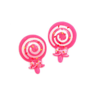 Children Clipon Earrings and Children Jewellery – Pink lollipop clip-on earrings