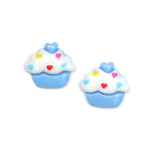 Children Clipon Earrings and Children Jewellery – Blue and white cupcake clip-on earrings