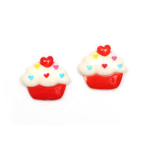 Children Clipon Earrings and Children Jewellery – Red and white cupcake clip-on earrings