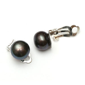 Children Clipon Earrings and Children Jewellery – Black peacock freshwater pearl with...