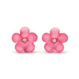 Children Clipon Earrings and Children Jewellery – Rose pink flower with rhinestone and...