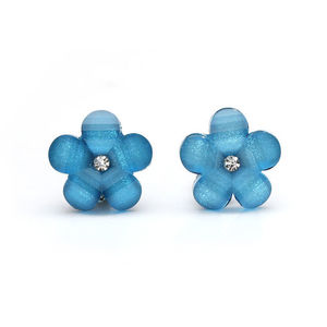 Children Clipon Earrings and Children Jewellery – Blue magic flower with rhinestone and...