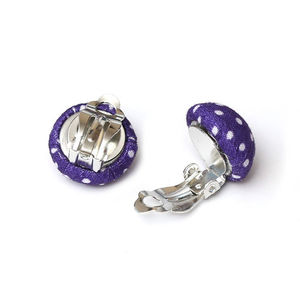 Children Clipon Earrings and Children Jewellery – Handmade purple polka dot fabric covered...