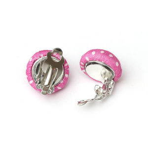 Children Clipon Earrings and Children Jewellery – Handmade pink polka dot fabric covered...