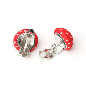 Children Clipon Earrings and Children Jewellery – Handmade red polka dot fabric covered...
