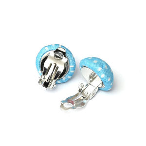 Children Clipon Earrings and Children Jewellery – Handmade blue polka dot fabric covered...