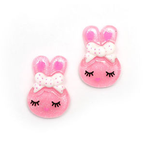 Children Clipon Earrings and Children Jewellery – Pink bunny rabbit with white and pink...
