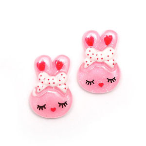 Children Clipon Earrings and Children Jewellery – Pink bunny rabbit with white and red...