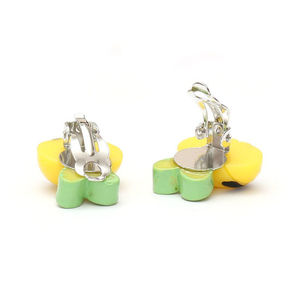 Children Clipon Earrings and Children Jewellery – Yellow stripy bee with green wings clip-on...
