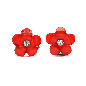 Children Clipon Earrings and Children Jewellery – Red flower with rhinestone clip-on earrings