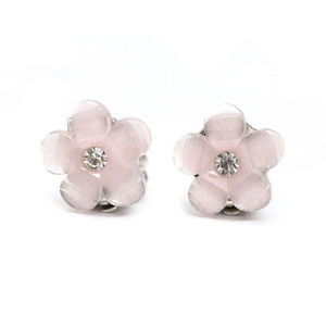 Children Clipon Earrings and Children Jewellery – 14 mm light pink flower with rhinestone...