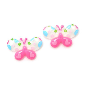 Children Clipon Earrings and Children Jewellery – White and pink spotty butterfly clip-on...