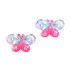 Children Clipon Earrings and Children Jewellery – Blue and pink spotty butterfly clip-on...