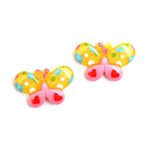 Children Clipon Earrings and Children Jewellery – Yellow and pink spotty butterfly clip-on...