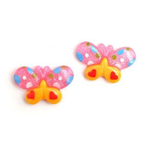 Children Clipon Earrings and Children Jewellery – Pink and yellow spotty butterfly clip-on...