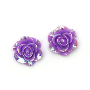 Children Clipon Earrings and Children Jewellery – Purple glossy AB colour plated flower...