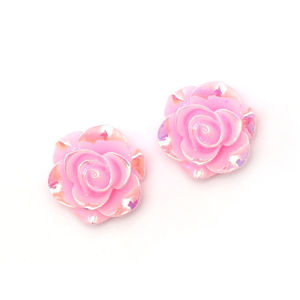 Children Clipon Earrings and Children Jewellery – Pink glossy AB colour plated rose flower...