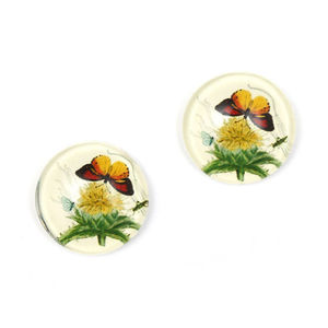 Children Clipon Earrings and Children Jewellery – Butterfly and flower printed glass flat...