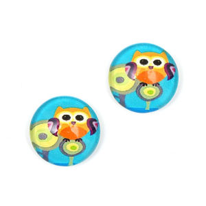 Children Clipon Earrings and Children Jewellery – Blue and orange owl printed glass round...