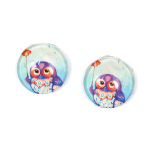 Children Clipon Earrings and Children Jewellery – Blue and purple owl printed glass round...