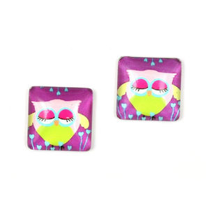Children Clipon Earrings and Children Jewellery – Purple and green owl printed glass square...