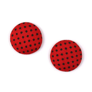 Children Clipon Earrings and Children Jewellery – Red and black polka dot fabric round...