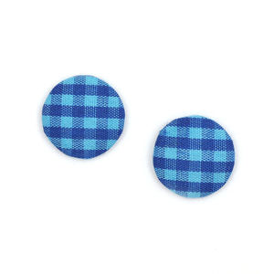 Children Clipon Earrings and Children Jewellery – Blue gingham fabric covered button clip-on...