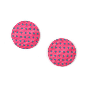 Children Clipon Earrings and Children Jewellery – Fuchsia polka dots fabric covered button...