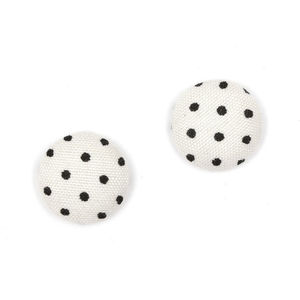 Children Clipon Earrings and Children Jewellery – White and black polka dots fabric covered...