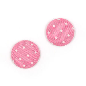 Children Clipon Earrings and Children Jewellery – Pink and white polka dots fabric covered...