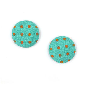 Children Clipon Earrings and Children Jewellery – Aquamarine polka dots fabric covered...