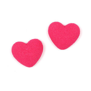 Children Clipon Earrings and Children Jewellery – Fuchsia heart fabric covered button...