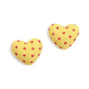 Children Clipon Earrings and Children Jewellery – Yellow heart polka dots fabric covered...