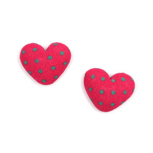 Children Clipon Earrings and Children Jewellery – Fuchsia heart polka dots fabric covered...
