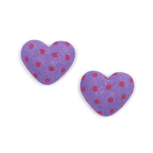 Children Clipon Earrings and Children Jewellery – Purple heart polka dots fabric covered...